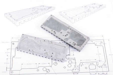 prototypes: Routed and molded mechanical part prototypes on the technical drawings