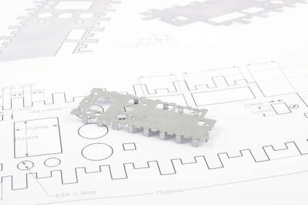 Sheet metal prototype design on the drawings Stockfoto