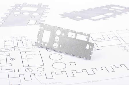 Sheet metal prototype design on the drawings 免版税图像