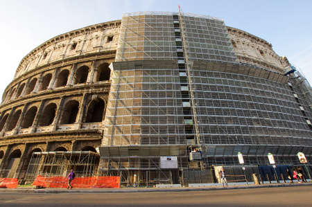 renovate old building facade: Colosseum restoration in Rome, Italy Editorial