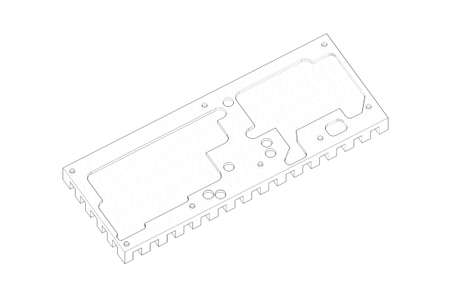 routing: 3D model drawing of metal heatsink parallel view isolated on the white background