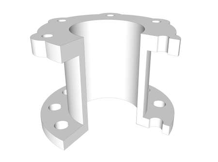 flange: Mechanical element flange 3D cross section drawing