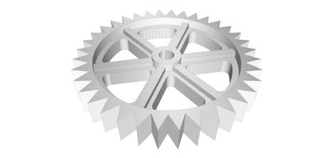 metalworking: Gear 3D drawing isolated on the white background