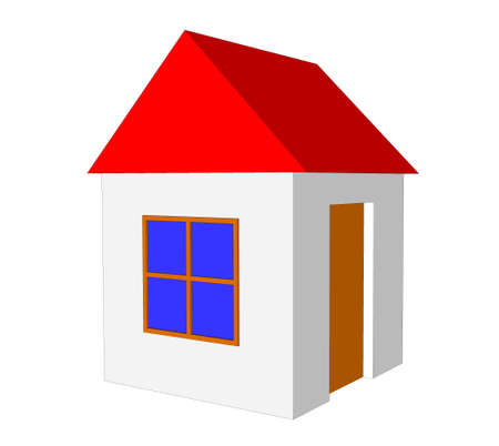 simple house: 3D simple house model isolated on the white background Stock Photo