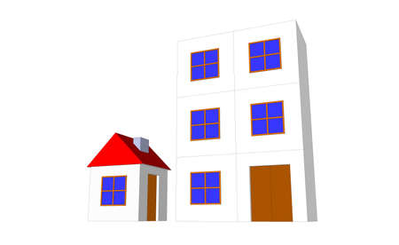 comparison: House comparison with multistory residential apartment Stock Photo