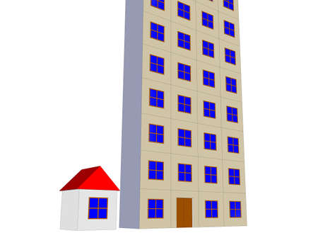multistory: House vs multistory residential apartment urbanization concept