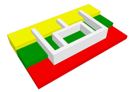 pillars: 3D Lithuania flag with Pillars of Gediminids