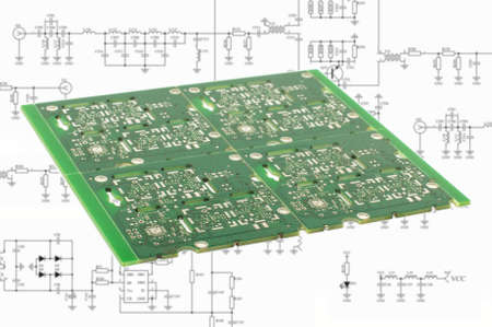 Electronic product design concept printed circuit board in front of schematic capture Foto de archivo