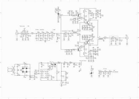 radio frequency: Electronic circuit schematic radio frequency amplifier