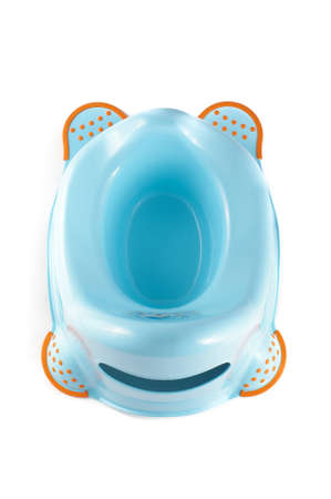 potty training: Blue baby potty isolated on the white background
