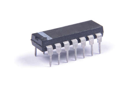 Integrated circuit in DIP package isolated on the white background