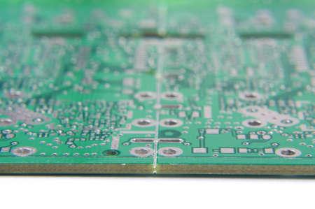 pcb: V scoring cut of panelized electronic PCB Stock Photo