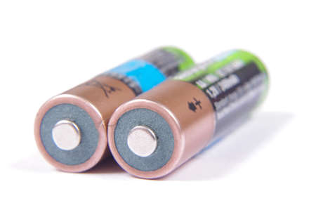 nimh: Pair of rechargeable NiMH AA batteries isolated on the white background