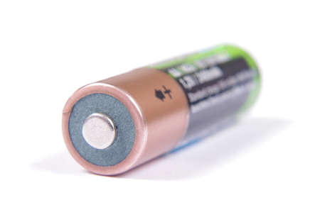 Rechargeable NiMH AA battery isolated on the white background