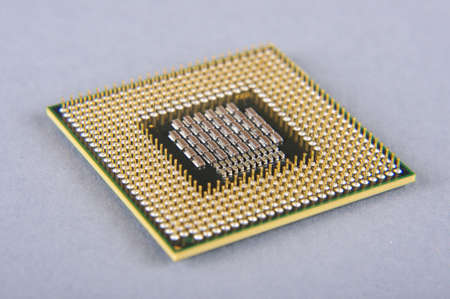Microprocessor isolated on the gray background