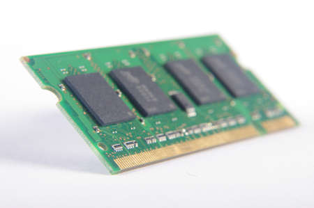 Computer RAM printed circuit board isolated Stock Photo