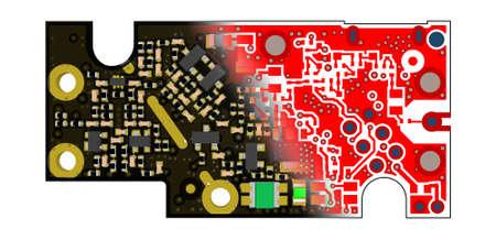 内側の層の gerber ファイルを配合し PCB デザイン概念 3 D 基板ビュー