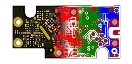 multilayer: PCB design concept 3D PCB view blended with gerber files of inner layers