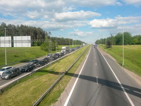 stopped: One way traffic jam in Kaunas Lithuania