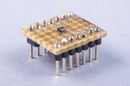soldered: High integrated electronic chip hand soldered on the universal PCB