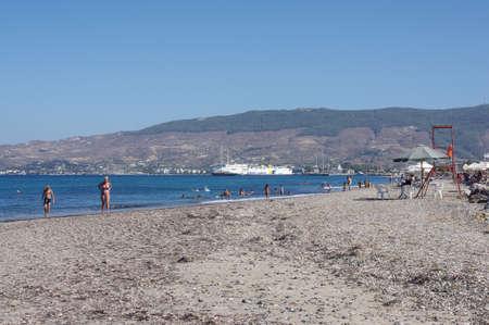 KOS ISLAND, GREECE - JULY 17, 2016: People having fun in Lambi beach, Kos island, Greece
