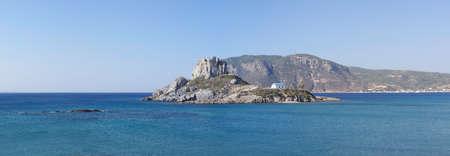kos: Panaroma of small Basilica of Ayios Stefanos in the rock island, Kos island, Greece
