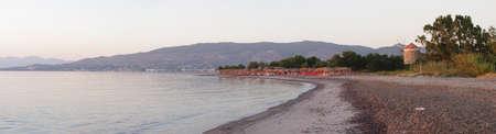 Panorama of morning in Lambi beach in Kos island, Greece