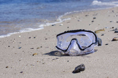 diving mask: Diving mask on the beach holiday concept Stock Photo