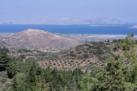 kos: Kos island relief panorama aerial photo from Zia village, Kos island, Greece