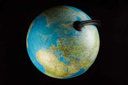 Close up of globe model isolated on the white background