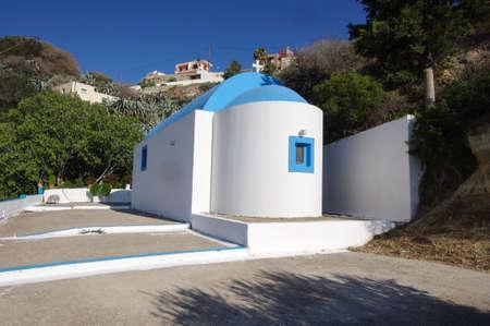 Small basilica in Kefalos village Kos island, Greece Stock Photo