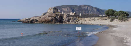 Small promontory with ruins and beach of Agios Stefanos in Kos island, Greece