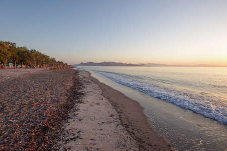 Early morning dawn in beautiful lambi beach Kos island, Greece