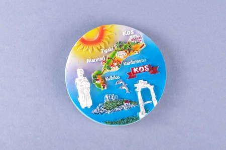 kos: Souvenir from Kos island Greece magnet for fridge Stock Photo