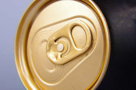 Macro view of beer can tab Stock Photo
