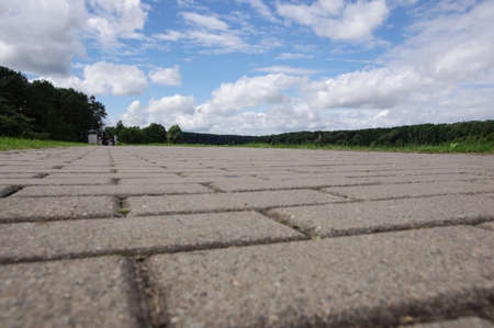low angle view: Low angle view of pathway of paving stones in Birstonas Lithuania