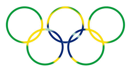 olympic ring: Olympic games rings blended with brazil flag