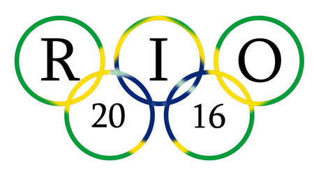 olympic symbol: Olympic games rings blended with brazil flag