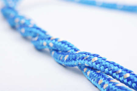 Blue twisted rope isolated Stock Photo