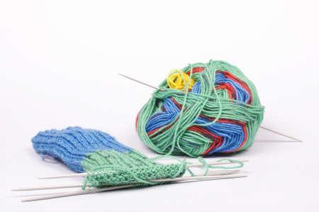 weave ball: Knitting process Stock Photo