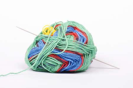 Ball of yarn with knitting needle isolated Stock Photo