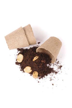 Argiculture concept: seads, heap of soil and peat pots Reklamní fotografie
