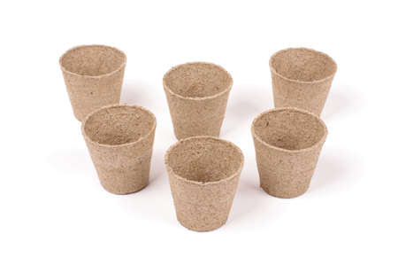 Peat pots for seeding isolated on the white background Stock Photo