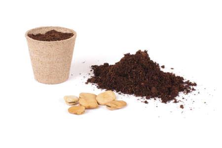 siembra: Argiculture concept: seads, heap of soil and peat pots Foto de archivo