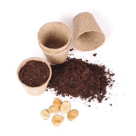 peat pot: Argiculture concept: seads, heap of soil and peat pots Stock Photo
