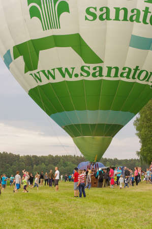 BIRSTONAS, LITHUANIA - JUNE 11, 2017: hot air ballon preparation for flight at Birstonas town festival in Birstonas, Lithuania