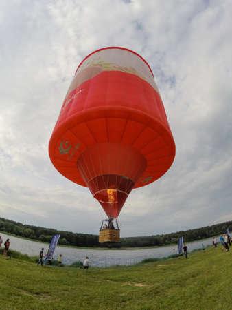 BIRSTONAS, LITHUANIA - JUNE 11, 2017: hot air ballon lift off at Birstonas town festival in Birstonas, Lithuania Editorial