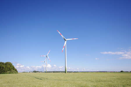 Wind turbine surrounded by nature Stock Photo