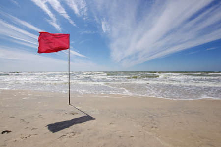 Red flag in the beach bathing prohibition