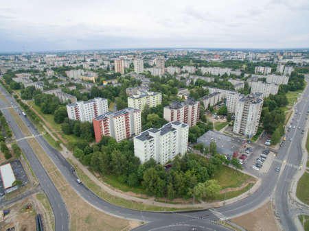 kaunas: Eiguliai district aerial view with many block of flats houses in Kaunas Lithuania Editorial